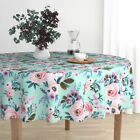 Round Tablecloth Floral Flower Roses Watercolor Baby Girl Fashion Cotton Sateen