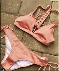 Victoria's Secret swim set Bottom PINK Ribbed Lace cheekster peach M XS $79.0 USD on eBay