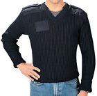Black Uniform Wool Sweater V-Neck Epaulets Unisex Military Commando Cold Weather