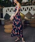 Floral Women V Neck Dress Ball Gown Cami Blue Vocations Sexy Beach Loose Vintage