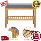 SONGMICS Bamboo Wood Shoe Bench Rack With Cushion Upholstered Padded Seat Sto...