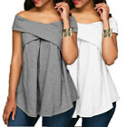 Sexy Women Summer Off Shoulder Short Sleeve Front Warp Tops Tee T Shirt Blouse