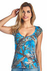 Women's Blue Camo Authentic True Timber V-Neck Shirt Licensed Plus Size