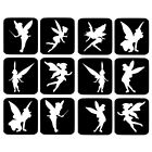12 x Glitter Tattoo Stencils - Fairy Refill Face Painting Airbrush Festival New