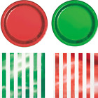 Red And Green Foil Party Tableware Plates & Cups Christmas Xmas Partyware