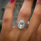 1.25Ct Pear and Baguette Cut in 9K White Gold Diamond Engagement Ring