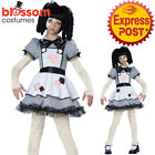 CK1152 Girls Haunted Rag Doll Costume Kids Halloween Dress Up Child Party Outfit