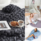 Bedding Warm Handmade Chunky Knit Blanket Thick Yarn Wool Bulky Knitted Throw image