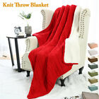 100% Cotton Blanket Nap Soft Warm Sofa Bed Home Decor Cable Knit Throw Blanket image