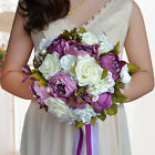 Handmade Rose Wedding Flower Bouquet Brooch Crystal Pearls Silk Flowers LOT W1R