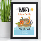 Personalised Christening Gifts for Boys Grandson Godson Noah's Ark Wall Art