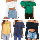 Women Chiffon Blouse Off Shoulder Loose Tops Casual Solid Clothes T-Shirts Lot