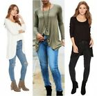 Free People January Tee Long Sleeve Pullover Sweater Top Shirt Black  Ivory MED