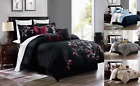 NEW BRENDA EMBROIDERED FLORAL DUVET BED COVER BEDROOM DECOR PILLOWCASE 3PC SET  image