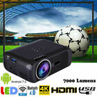 WiFi Android7.0 4K 7000Lumens LED Home Theater Projector 1080P HDMI/USB/AV BT4.0