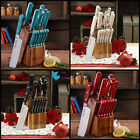 Cutlery Set Kitchen Knives Rustic 14-Piece Forged Blades With Easy Storage Block