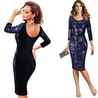 Women Sequin Floral Embroidery Velvet Formal Cocktail Evening Party Sheath Dress