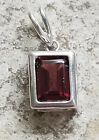 925 Sterling Silver & Garnet Pendant 2 Available 1 Oval 1 Rectangle