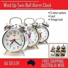 Wind Up Loud Twin Bell Alarm Clock Mechanical Table Vintage Retro Old Look
