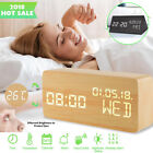 Wooden Digital Clocks with Alarms Voice Control LED Display Temperature Humidity