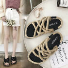 Women Woven Straw Sandals Flat Sandal Lace-Up Light Shoes Knitting Shoes Slipper