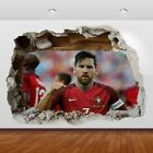 Lionel Messi Argentine Barcelona 3d Smashed Wall View Sticker Poster Vinyl 863