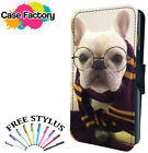 CUTE FRENCH BULL DOG GEEK GLASSES - Leather Flip Wallet Phone Case Cover