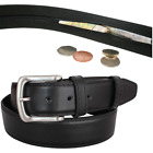 Mens Money Belt With Hidden Zip, Holiday Security Belt, Mens Leather Belt 40mm
