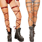 Внешний вид - Broken Glass Leg Wraps Garter Straps Thigh High Metallic Shiny Kaleidoscope 3629