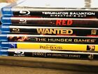 Lot of 6 Blu Ray DVD Disc Movies, Wanted, Red, Terminator Salvation, Hunger Game