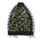 bape baseball jacket - BAPE A Bathing Ape Green Camo Monkey Head Flight Bomber Jacket Baseball Coat