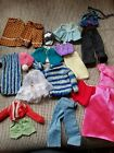 Barbie Cloths Lot and outdoor furniture, 1 round table and 2 chairs with pillows