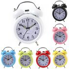 Portable Silent Twin Bell Alarm Clock with Nightlight Loud Alarm Home Decor