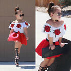 Toddler Kids Baby Girls Off Shoulder Top Mini Skirt Dress Outfits Set Clothes LC