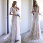 Bohemian Beach Wedding Dresses 2019 Lace Short Sleeves A Line Bridal Gown Custom