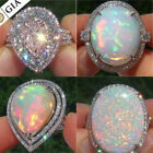 925 Silver Sparkling Jewelry Opal Cz Women Wedding Engagement Party Ring Sz 6-10