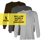 5 PACK AAA ALSTYLE CASUAL MENS LONG SLEEVE T SHIRT PLAIN SHIRTS COTTON TEE WORK image