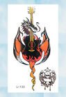 US Seller- guita skull fire dragon temporary tattoo transfers for adults
