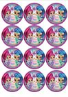 SET OF 12 EDIBLE RICE PAPER NICEKLODEON SHIMMER AND SHINE CUPCAKE TOPPERS
