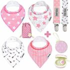 Baby Bandana Drool Bibs by Dodo Babies For Girls + 2 Pacifier Clips + Pacifie...
