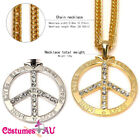 Deluxe Metal Peace Sign Necklace Silver Gold 60s 70s Hippie Hippy 1970s Boho