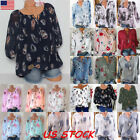 US Womens Plus Size Tops Long Sleeve Casual Floral Shirt Lad