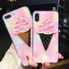 3D Summer Ice Cream with heart Soft TPU Phone Case For iPhone X 6 6S 7 8 Plus