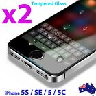 2x Scratch Resist Tempered Glass Screen Protector Film for Apple iPhone 5S 5C SE