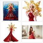 Barbie 2017 Holiday Doll Blonde Hair Red Drees Xmas Collection Toy Girls Gift