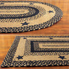 Black and Tan Braided Rug with Stars Primitive Country Oval Rectangle 20x30 5x8