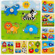 Baby Toddlers Intelligence Development Animals Wooden Bricks Puzzle Toys FG