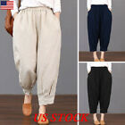 Women Solid Cotton Linen Elastic Waist Loose Pants Trouser C