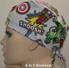 Marvel Comic Characters Dots Unisex Tie-Back Surgical Scrub Hat Cap*Size REGULAR
