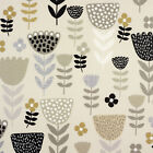 Grey and Taupe Tulpan Tulips Floral Oilcloth Wipe Clean Tablecloth
